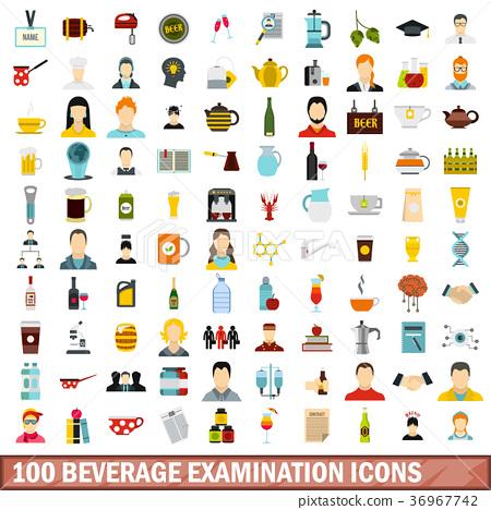 100 beverage examination icons set, flat style 36967742