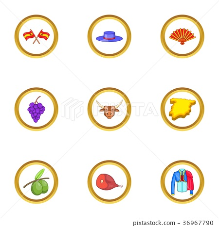 Spain icons set, cartoon style 36967790