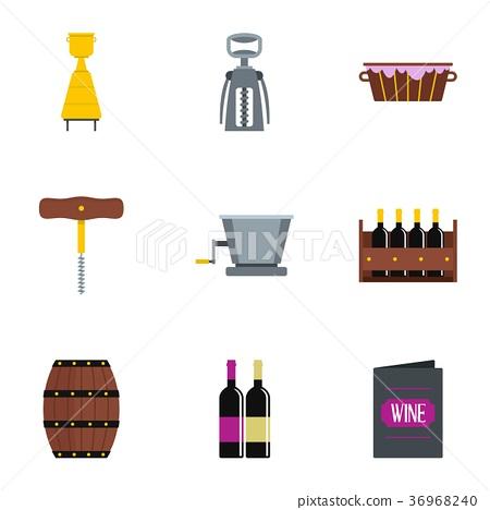 Wine icon set, flat style 36968240