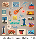 Vector travel sticker and label set with famous 36970736