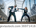 Knight businessman and boxer businesswoman  36971416