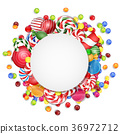 Sweets background with frame candies 36972712
