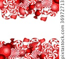 Sweet banner with lollipop and candies cane 36972713