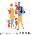 선물을 사러가는 가족 일러스트 36972840