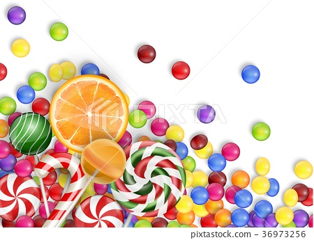 Sweets of candies with lollipop, orange juice, bub 36973256