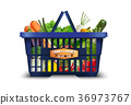 Natural organic vegetable in shopping basket with  36973767