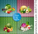 Fruits and Vegetable poster design set 36973770