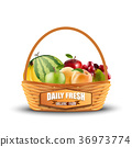 Fresh fruits in wicker basket isolated on white 36973774