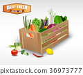 Fresh vegetable in wooden crates on a white backgr 36973777