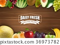 Frame of fruits on a wooden background 36973782