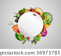 Empty plate with fruits and vegetables 36973785