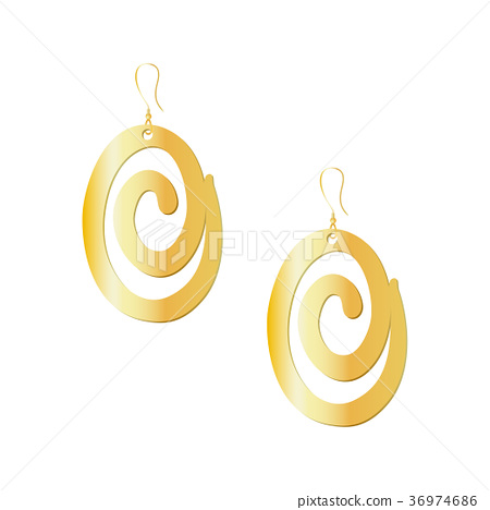Gold spiral earrings isolated on white background 36974686