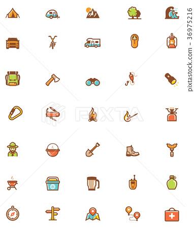 Vector camping icon set 36975216