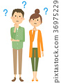 heterosexual couple, youthful, vector 36975229