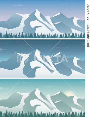 Three snowy landscapes banner with wild nature 36976397