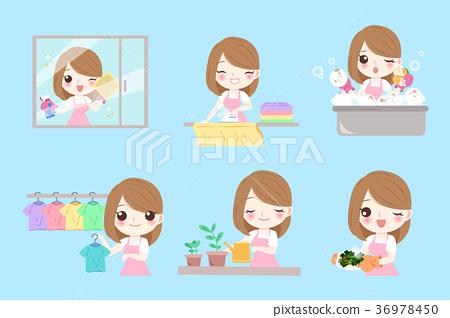 cute cartoon housewife 36978450