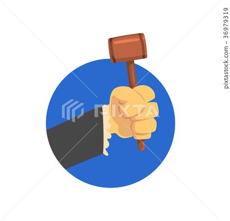 Hand holding judges gavel, wooden hammer of judge 36979319