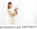 젊은여자, 부케, 드레스 36979677