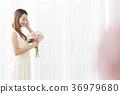 젊은여자, 부케, 드레스 36979680