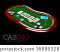 Poker table with a combination of a straight flush 36980328
