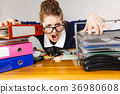 Depressed businesswoman sitting at desk 36980608
