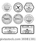 Set of tourist stamps 36981381