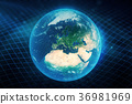 3D illustration Earth's gravity bends space around 36981969