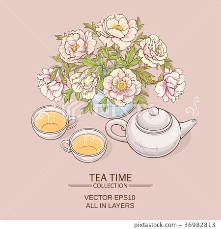 tea pot with tea cup and sugar bowl 36982813