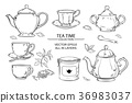 tea set on white background 36983037
