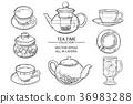 glass tea set sketch 36983288