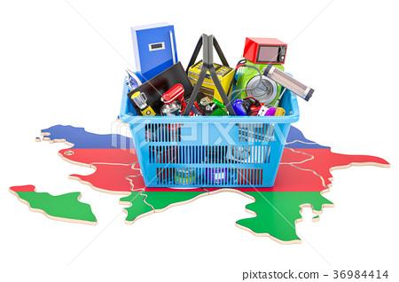 Map of Azerbaijan with shopping basket 36984414