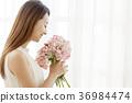 젊은여자, 부케, 긴머리 36984474