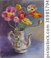 pastel picture, still life, poppy 36985794