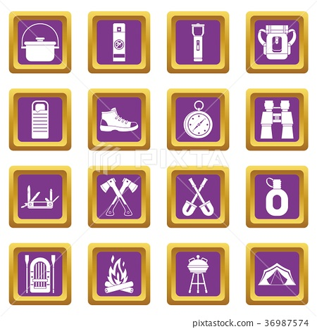 Recreation tourism icons set purple 36987574