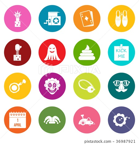 April fools day icons many colors set 36987921