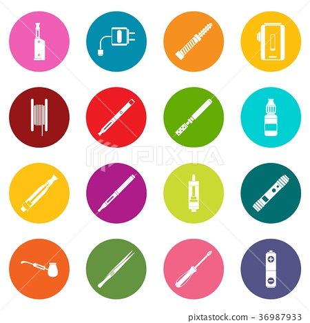 Vaping icons many colors set 36987933