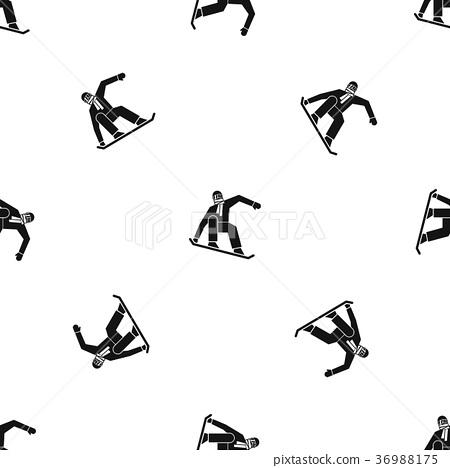 Snowboarder pattern seamless black 36988175