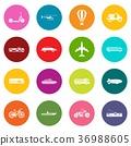 Transportation icons many colors set 36988605