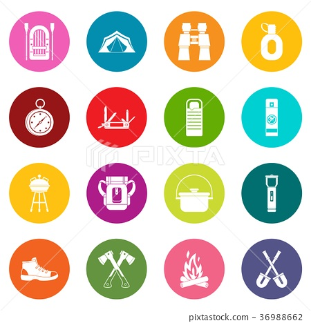 Recreation tourism icons many colors set 36988662