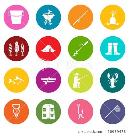 Fishing tools icons many colors set 36989478