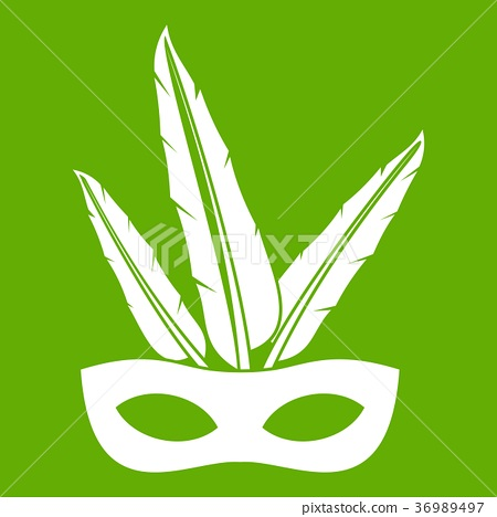 Carnival mask icon green 36989497