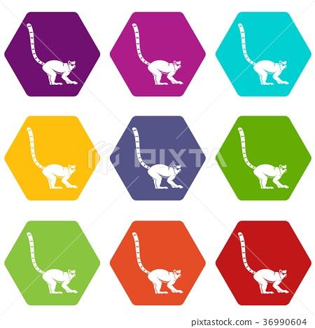 Lemur monkey icon set color hexahedron 36990604