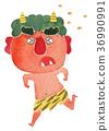 Setsubun Oni Mamemaki ภาพประกอบสีน้ำวิ่งหนี 36990991