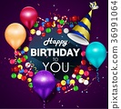 Colorful balloons happy birthday on purple backgro 36991064