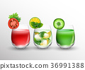 Fruit and vegetable juice in glasses and pieces of 36991388