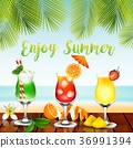 Summer drinks on the table in beach background 36991394