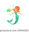 mermaid, vector, underwater 36994895
