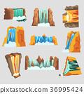 Waterfalls set, cascading streams of various shape 36995424