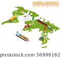 Global Logistic Isometric Vehicle Infographic. Shi 36996162