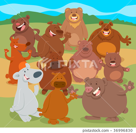 cartoon bears animal characters group 36996830